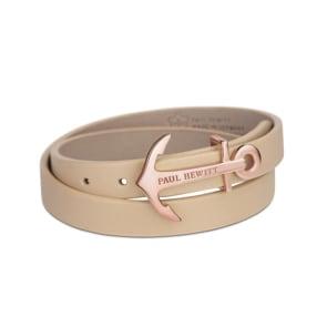 Paul Hewitt North Bound IP Rose Wrap Bracelet Leather Hazelnut