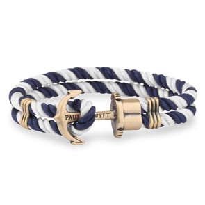 Paul Hewitt Phrep Brass Anchor Bracelet Nylon Navy Blue-White