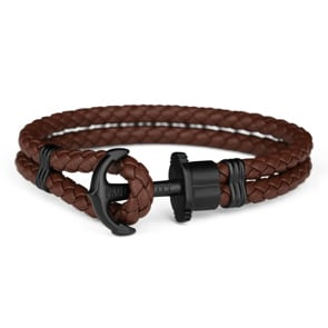 Paul Hewitt Phrep IP Black Anchor Bracelet Leather Brown