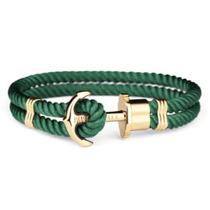 Paul Hewitt Phrep IP Gold Anchor Bracelet Nylon Green