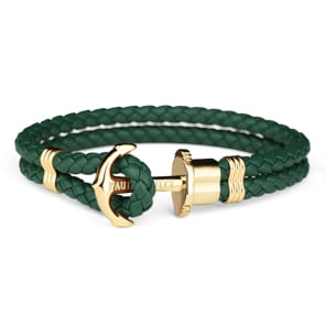 Paul Hewitt Phrep IP Gold Anchor Bracelet Leather Green
