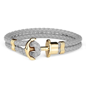 Paul Hewitt Phrep IP Gold Anchor Bracelet Leather Grey
