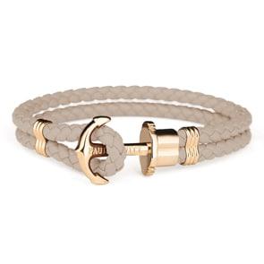 Paul Hewitt Phrep IP Gold Anchor Bracelet Leather Hazelnut