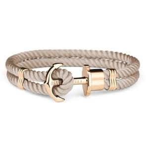 Paul Hewitt Phrep IP Gold Anchor Bracelet Nylon Hazelnut
