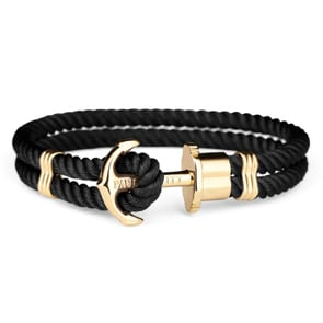 Paul Hewitt Phrep IP Gold Anchor Bracelet Nylon Black