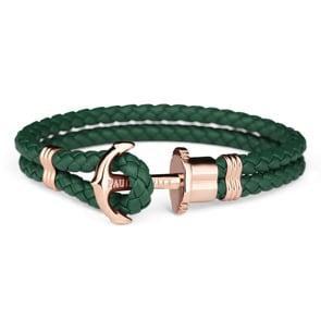 Paul Hewitt Phrep IP Rose Anchor Bracelet Leather Green