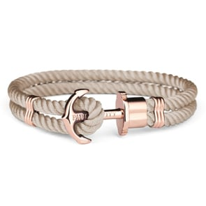 Paul Hewitt Phrep IP Rose Anchor Bracelet Nylon Hazelnut