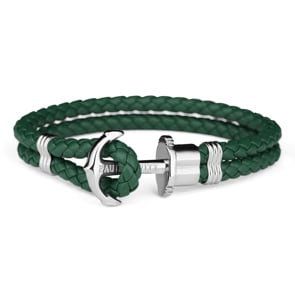 Paul Hewitt Phrep Silver Anchor Bracelet Leather Green