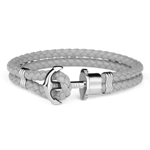 Paul Hewitt Phrep Silver Anchor Bracelet Leather Grey