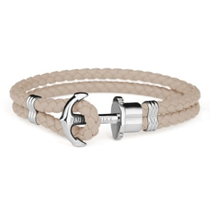 Paul Hewitt Phrep Silver Anchor Bracelet Leather Hazelnut