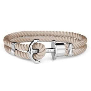 Paul Hewitt Phrep Silver Anchor Bracelet Nylon Hazelnut