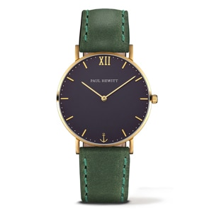 Paul Hewitt Sailor Line Blue Lagoon IP Gold Leather Green Ø 39