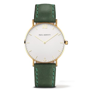 Paul Hewitt Sailor Line White Sand IP Gold Leather Green Ø 39