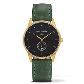 Paul Hewitt Signature Line Black Sea IP Gold Leather Green Ø 38