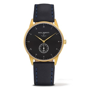 Paul Hewitt Signature Line Black Sea IP Gold Leather Navy Blue Ø 38