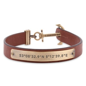 Paul Hewitt Signum Brass Anchor Bracelet Leather Brown