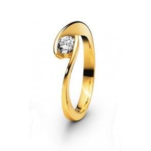 Solitärring 750/18 K Gelbgold mit Diamant 0.10ct W/Si