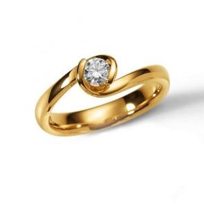 Solitärring 750/18 K Gelbgold mit Diamant 0.25ct W/Si