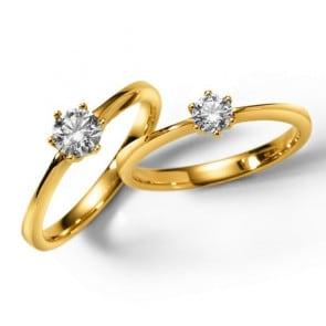 Solitärring 750/18 K Gelbgold mit Diamant 0.50ct W/Si