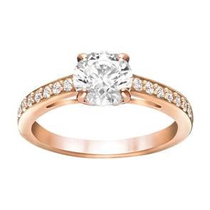 Swarovski Attract Round Ring, weiss, rosé vergoldet