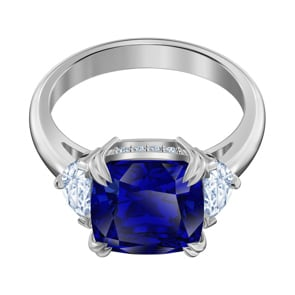 Swarovski Attract Trilogy Cocktail Ring, blau, rhodiniert