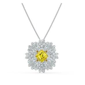 Swarovski Eternal Flower Brosche / Halskette, gelb, rhodiniert