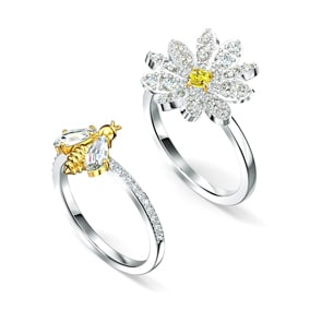 Swarovski Eternal Flower Ring Set, gelb, Metallmix