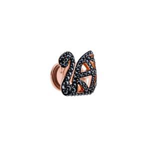 Swarovski Facet Swan Pin / Brosche, schwarz, rosé vergoldet