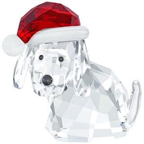 Swarovski Hund mit Nikolausmütze