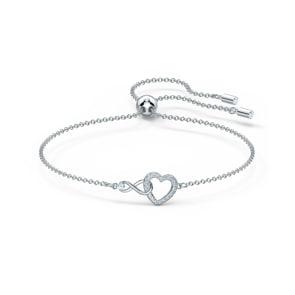 Swarovski Infinity Heart Armband, weiss, rhodiniert