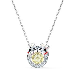 Swarovski Sparkling Dance Cat Halskette, mehrfarbig, rhodiniert