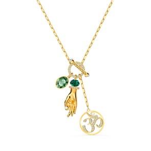 Swarovski Symbolic Hand Om Halskette, grün, vergoldet