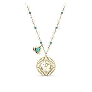 Swarovski Symbolic Lotus Halskette, grün, vergoldet