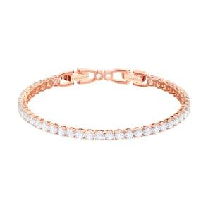 Swarovski Tennis Armband, weiss, rosé vergoldet