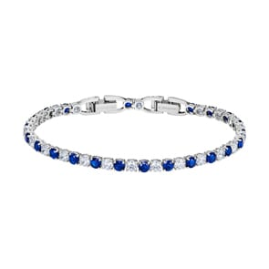 Swarovski Tennis Deluxe Armband, blau, rhodiniert