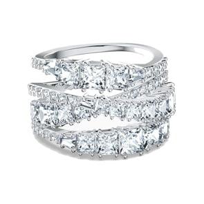 Swarovski Twist Wrap Ring, weiss, rhodiniert