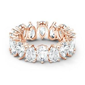 Swarovski Vittore Pear Ring, weiss, Rosé vergoldet