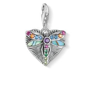 Thomas Sabo Charm-Anhänger Herz mit Libelle Silber