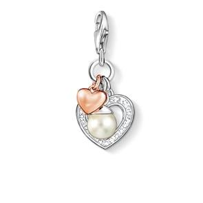 Thomas Sabo Charm-Anhänger Herzen mit Perle