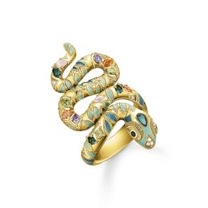 Thomas Sabo Sterling Silver Glam & Soul Ring Bunte Schlange gold
