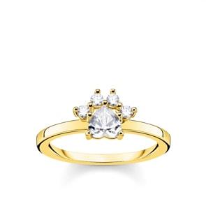 Thomas Sabo Sterling Silver Glam & Soul Ring Pfote Katze Gold