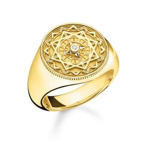 Thomas Sabo Sterling Silver Glam & Soul Ring Vintage Kompass Gold