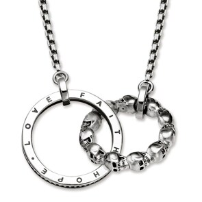 Thomas Sabo Sterling Silver Rebel at Heart Collier Totenkopf Love, Faith, Hope