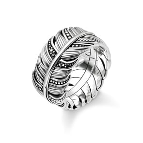 Thomas Sabo Sterling Silver Rebel at Heart Ring Feder Pavé