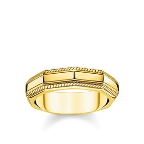 Thomas Sabo Sterling Silver Rebel at Heart Ring Eckig Gold