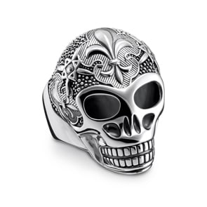 Thomas Sabo Sterling Silver Rebel at Heart Ring Lilien Totenkopf
