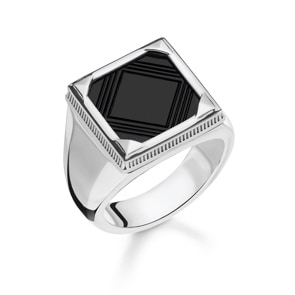 Thomas Sabo Sterling Silver Rebel at Heart Ring Onyx