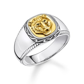 Thomas Sabo Sterling Silver Rebel at Heart Ring Tiger Gold