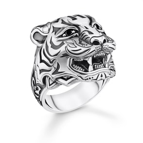 Thomas Sabo Sterling Silver Rebel at Heart Ring Tiger Silber