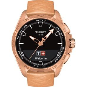 Tissot T-Touch Connect Solar Smartwatch Titan PVD Rosé mit beigem Lederband